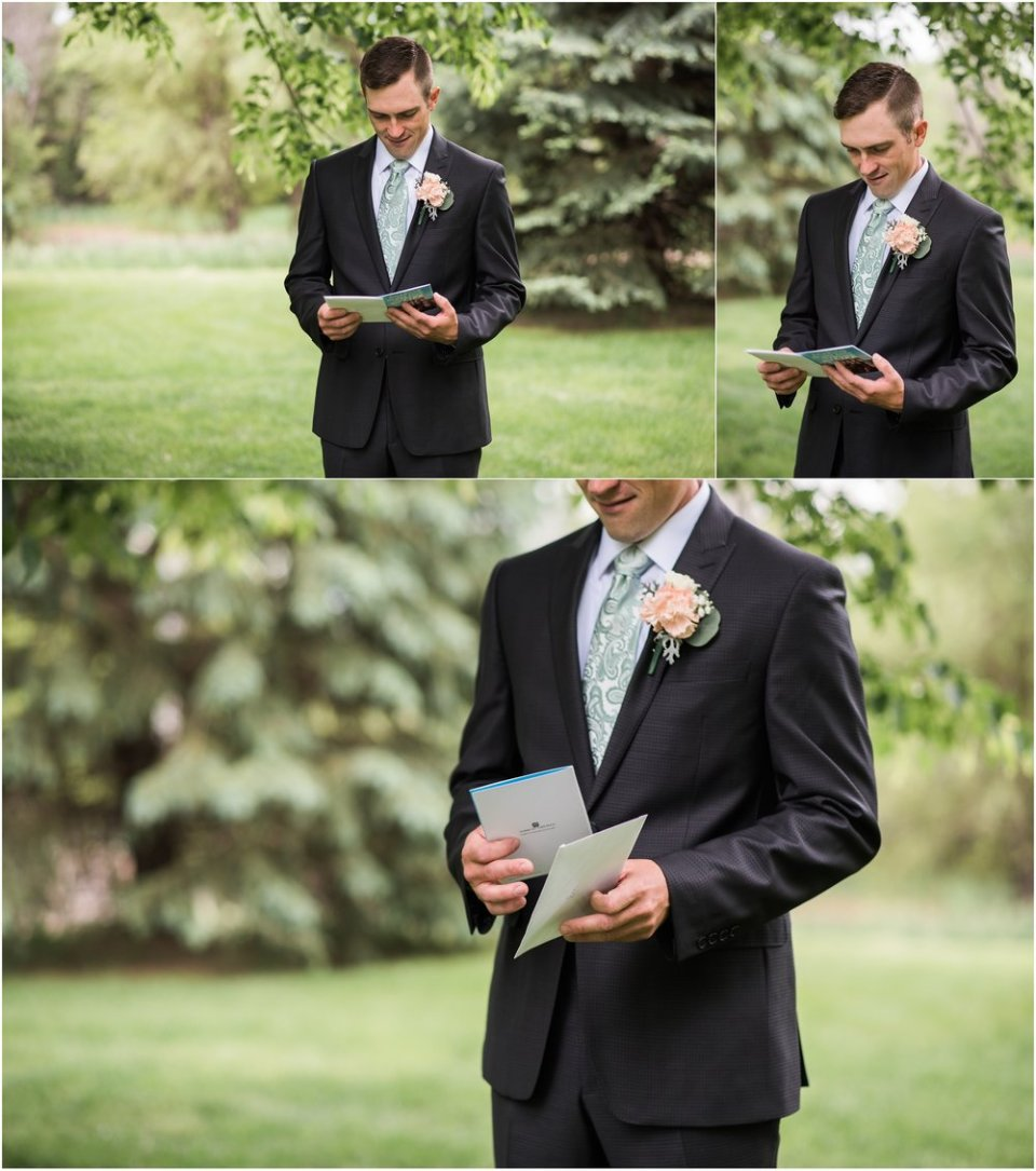 Groom reading note from bride before first look | Maddie Peschong Photography