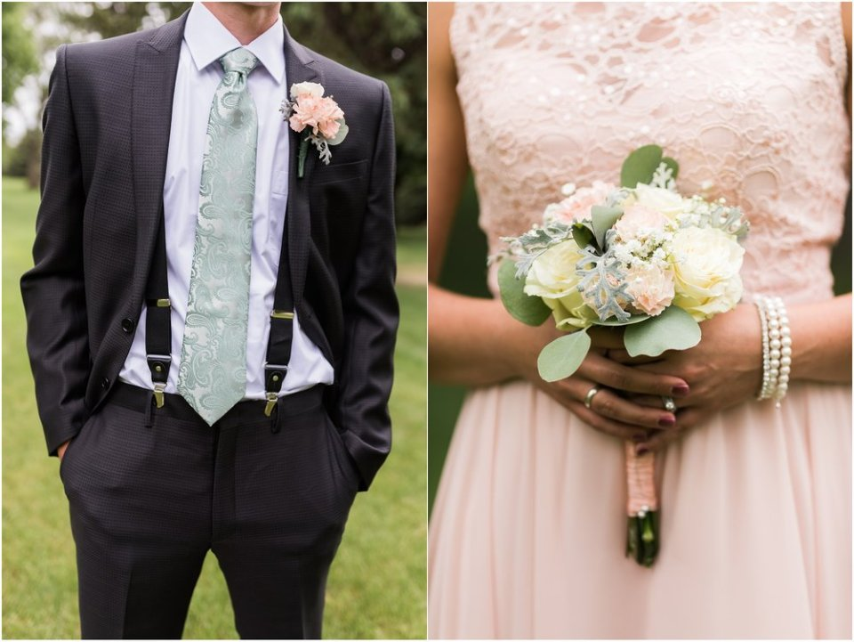 Blush, mint, and gray wedding party | Maddie Peschong Photography