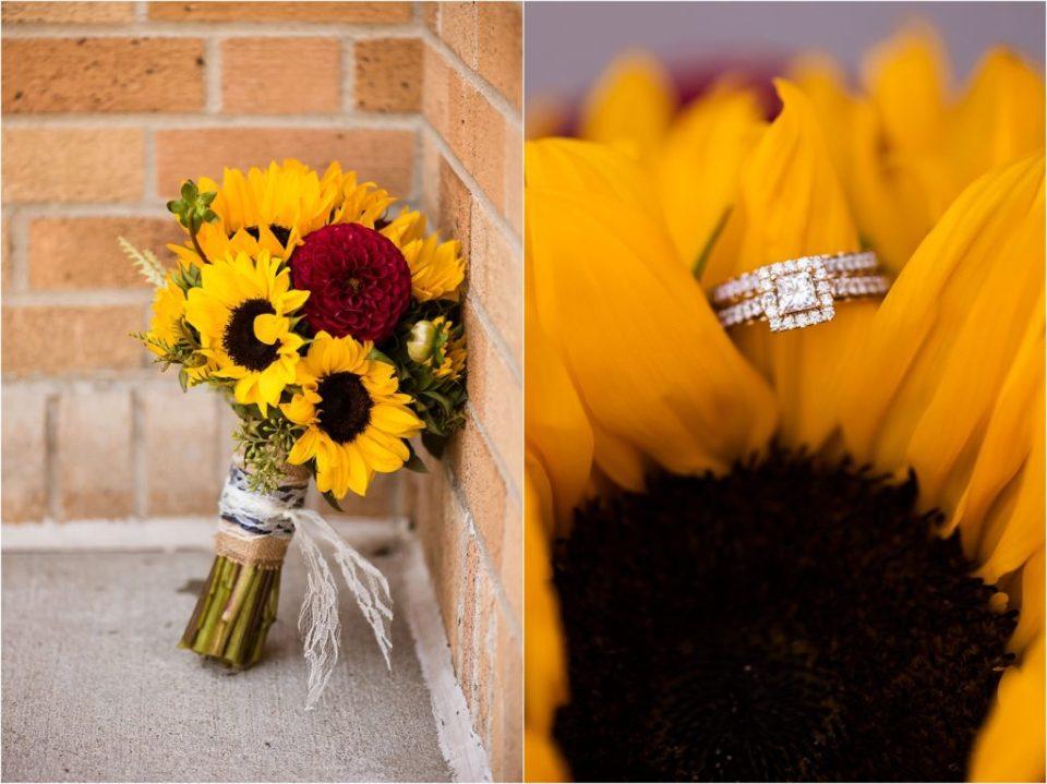 sunflower wedding bouquet with wedding ring