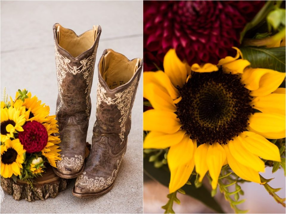 cowboy boots with sunflower wedding bouquet