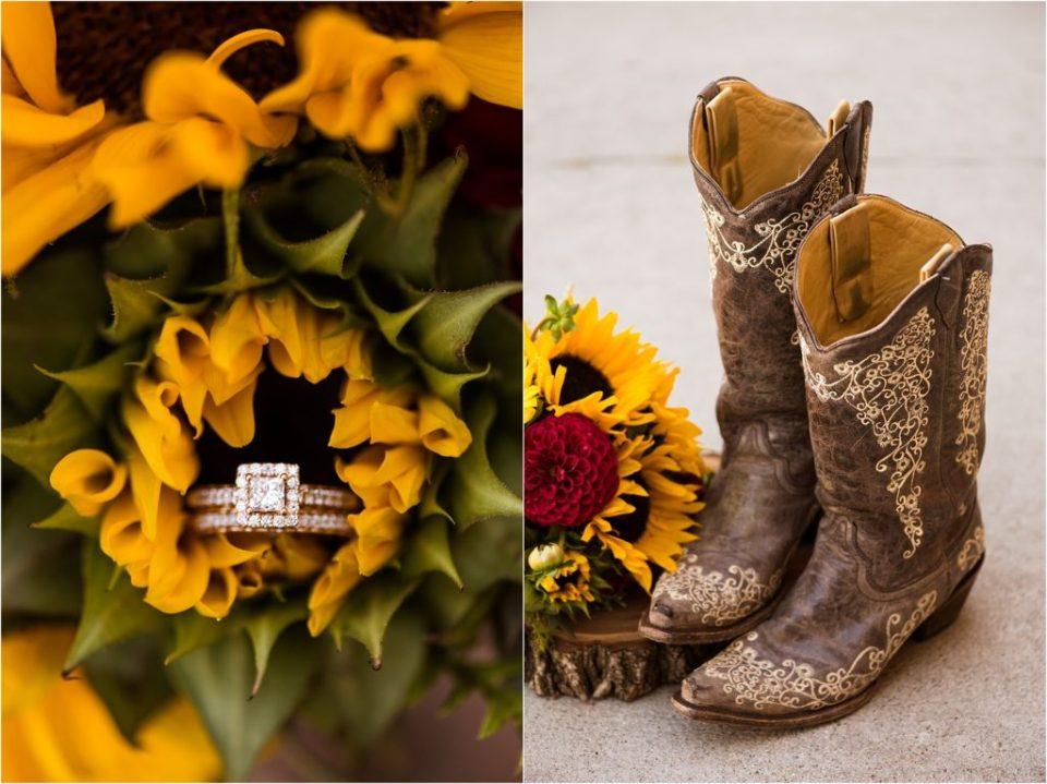 wedding ring in sunflower bouquet