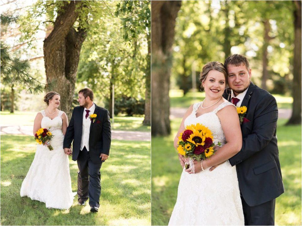 bride and groom September wedding