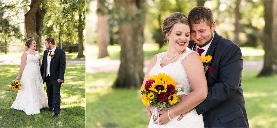 bride and groom September South Dakota wedding