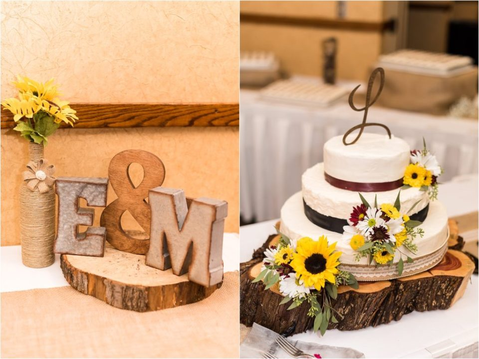 metal letters and wedding cake at fall wedding reception