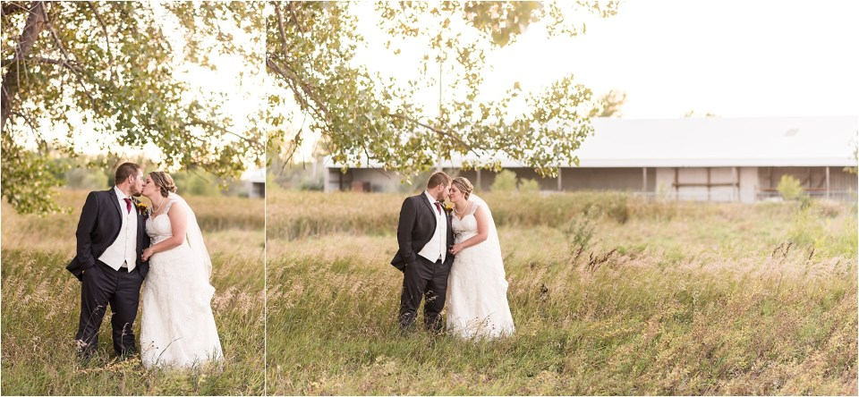 bride and groom field at sunset