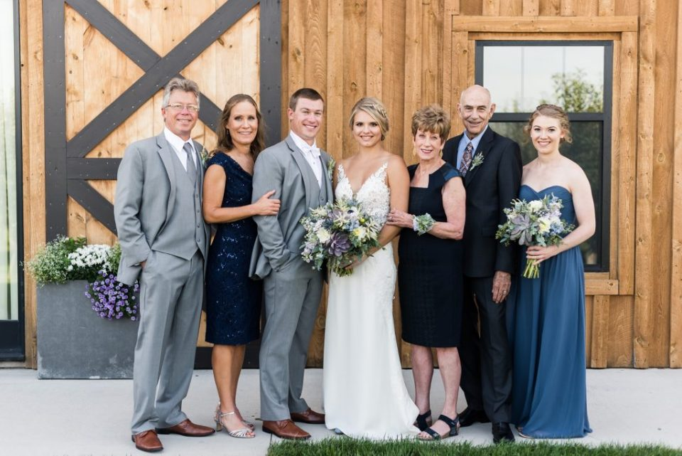 Family photo on wedding day. Maddie Peschong Photography.