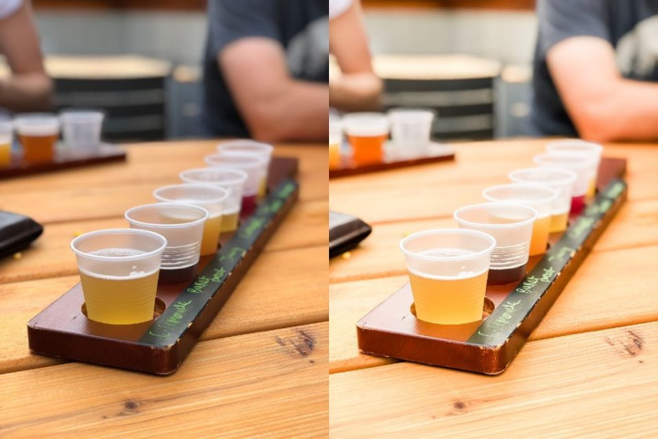 before and after photo of beer flight