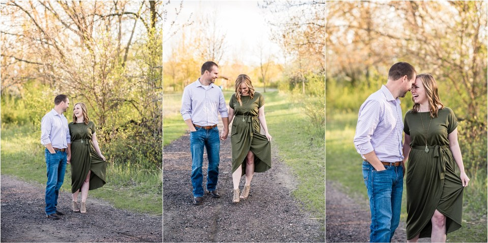 couple walking down gravel road for engagement photos
