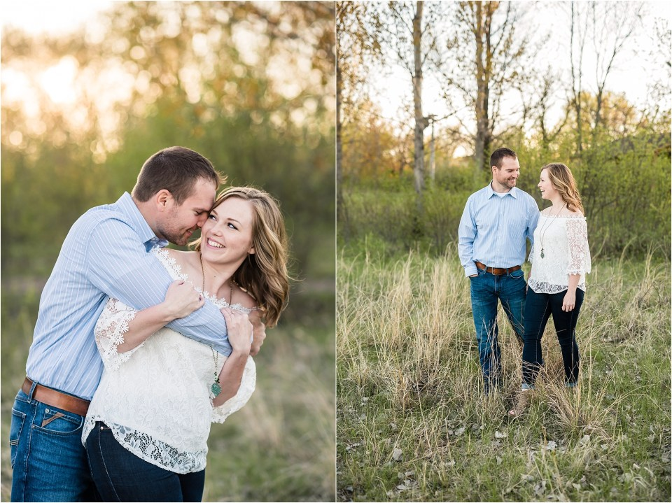 couple smiling during engagement photos