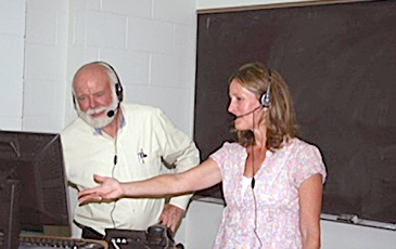 Laurie and Dr. Schultz at Webcast