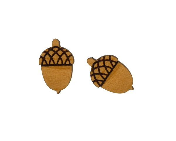 Acorns Cherry Hardwood Stud Earrings