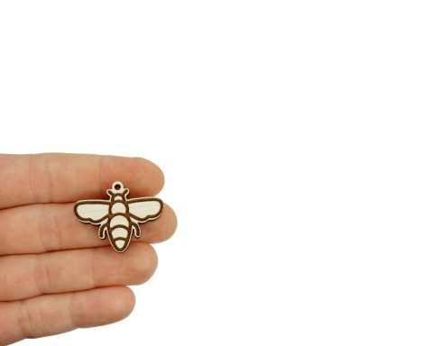 Bees Engraved Wood Drop Charms