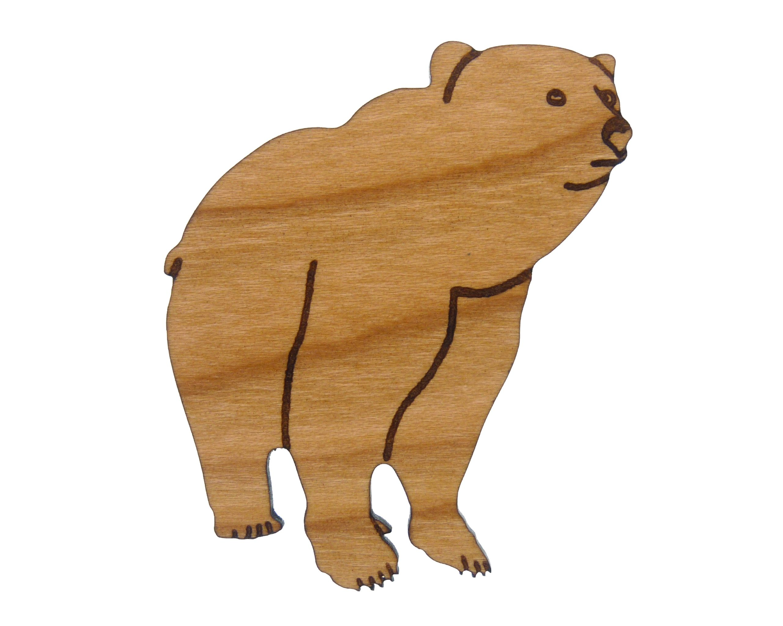 Brown Bear Cherry Hardwood Pin | Hand Drawn