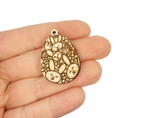 Bunnies Galore Engraved Wood Drop Charms