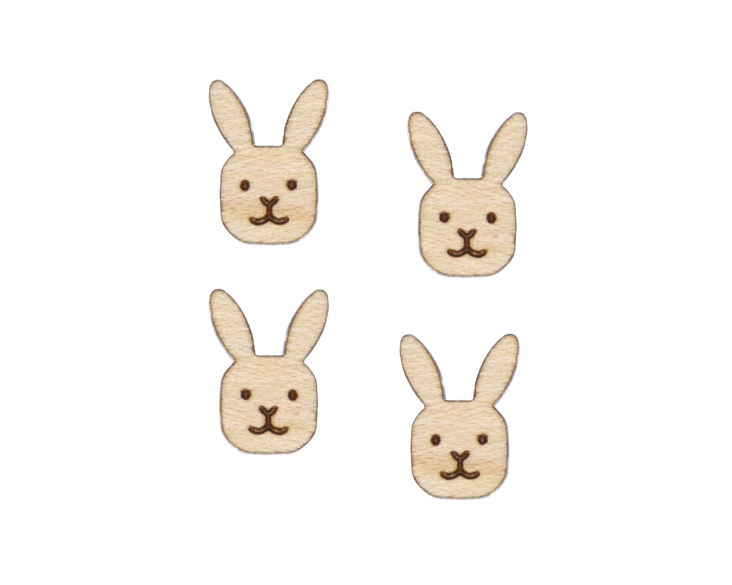 Bunny Face Engraved Wood Cabochons