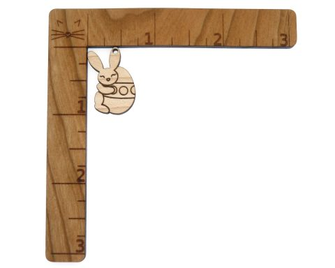 Bunny Rabbit Holding Easter Egg Engraved Wood Drop Charms