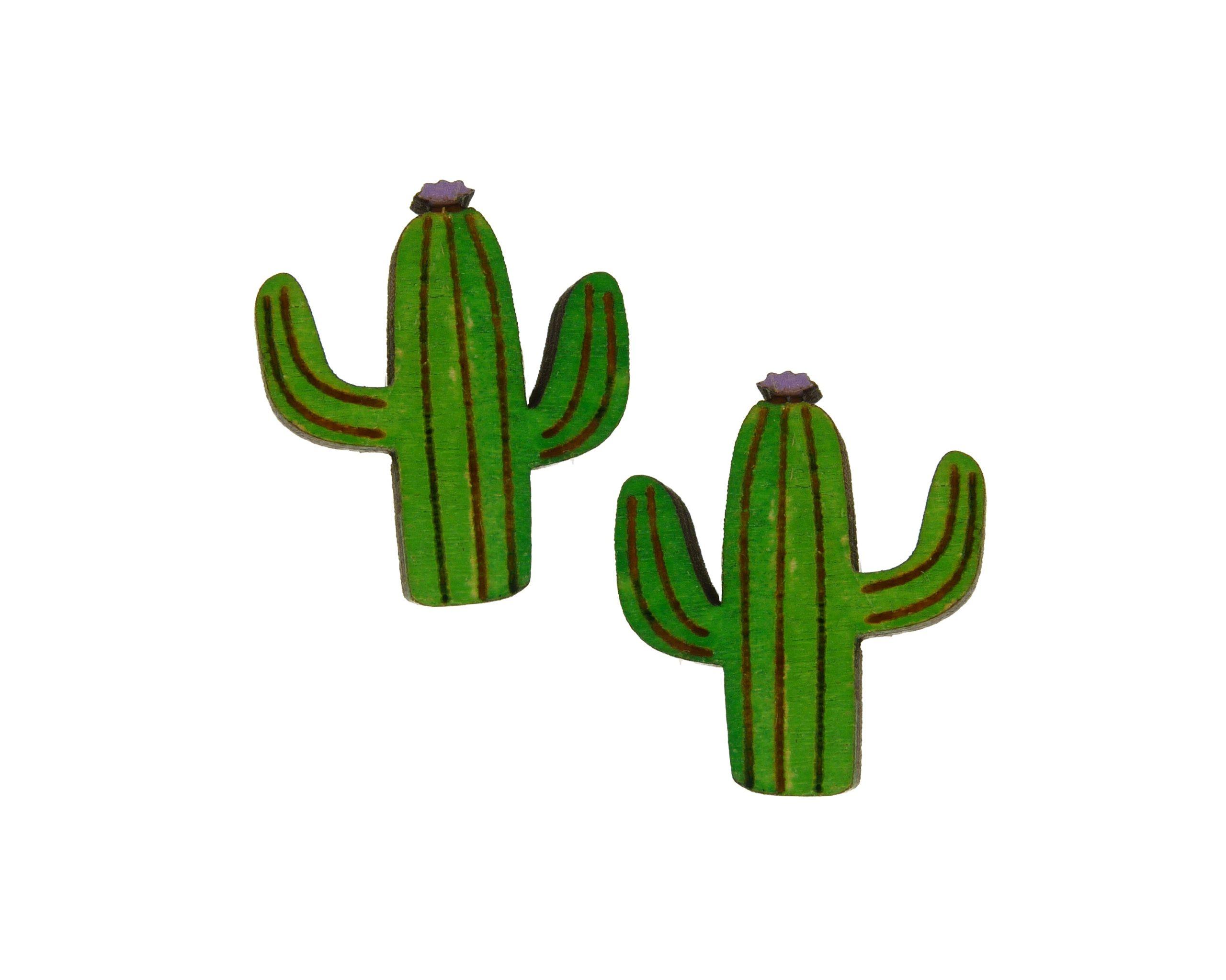 Flowering Cactus Maple Hardwood Stud Earrings | Hand Painted