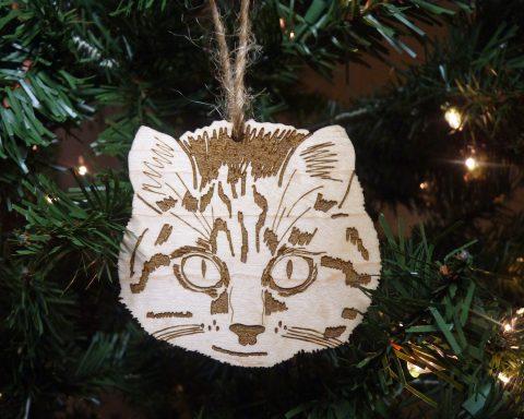 Cat Maple Hardwood Ornament   Hand Drawn