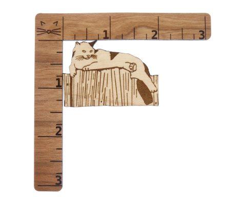 Cat on Fence Maple Hardwood Pin | Hand Drawn