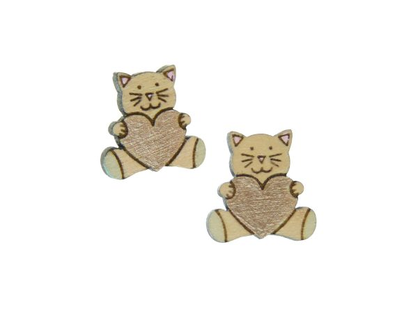 Cat with Hearts Maple Hardwood Stud Earrings | Hand Painted