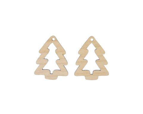 Christmas Trees Wood Drop Charms
