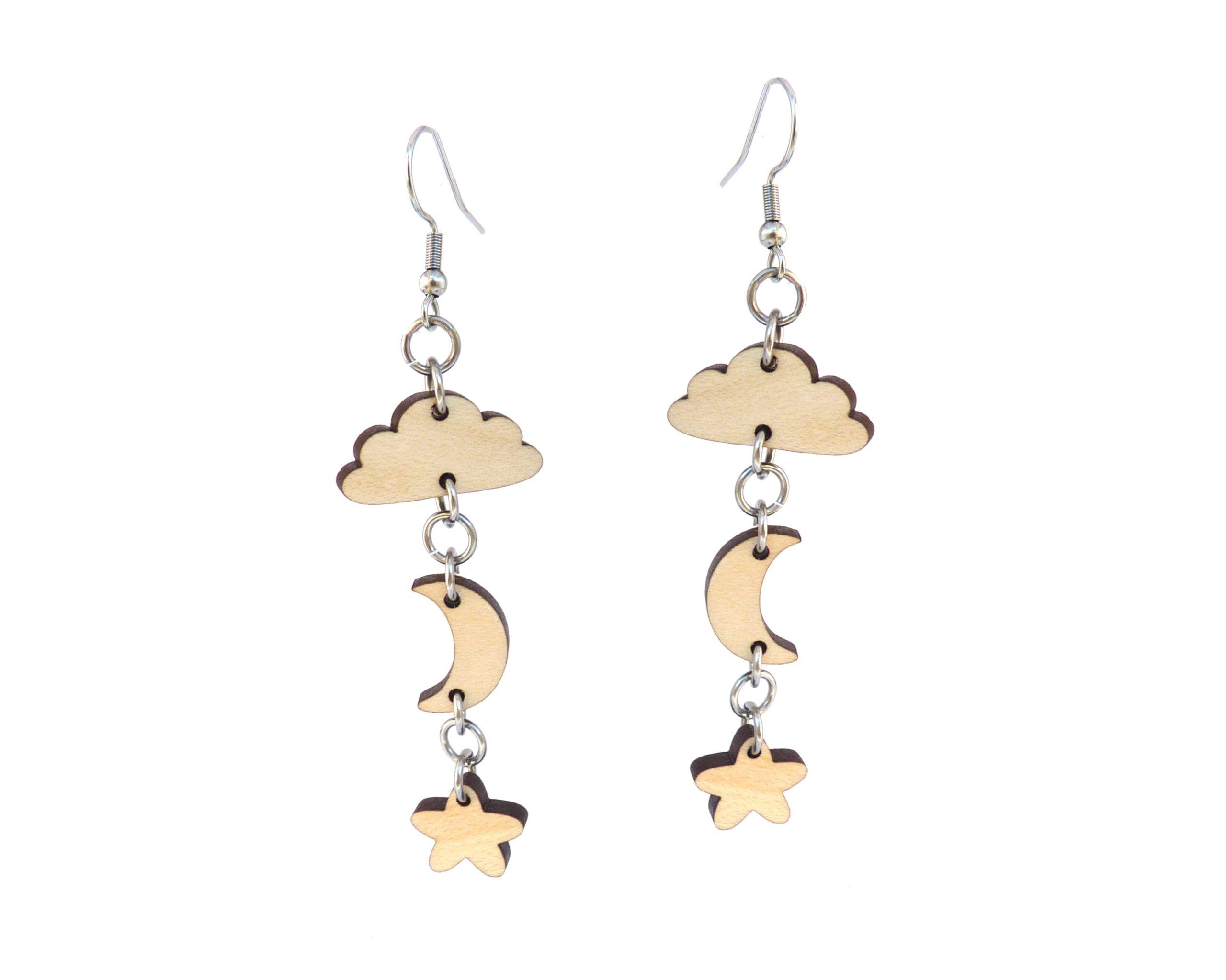 Celestial Wood Drop Chain Earrings