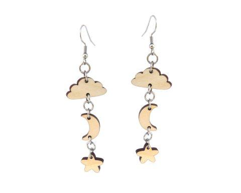 Celestial Wood & Chain Earrings | Cloud, Moon & Stars