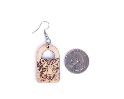 Clouded Leopard Maple Wood Earrings | Hand Drawn