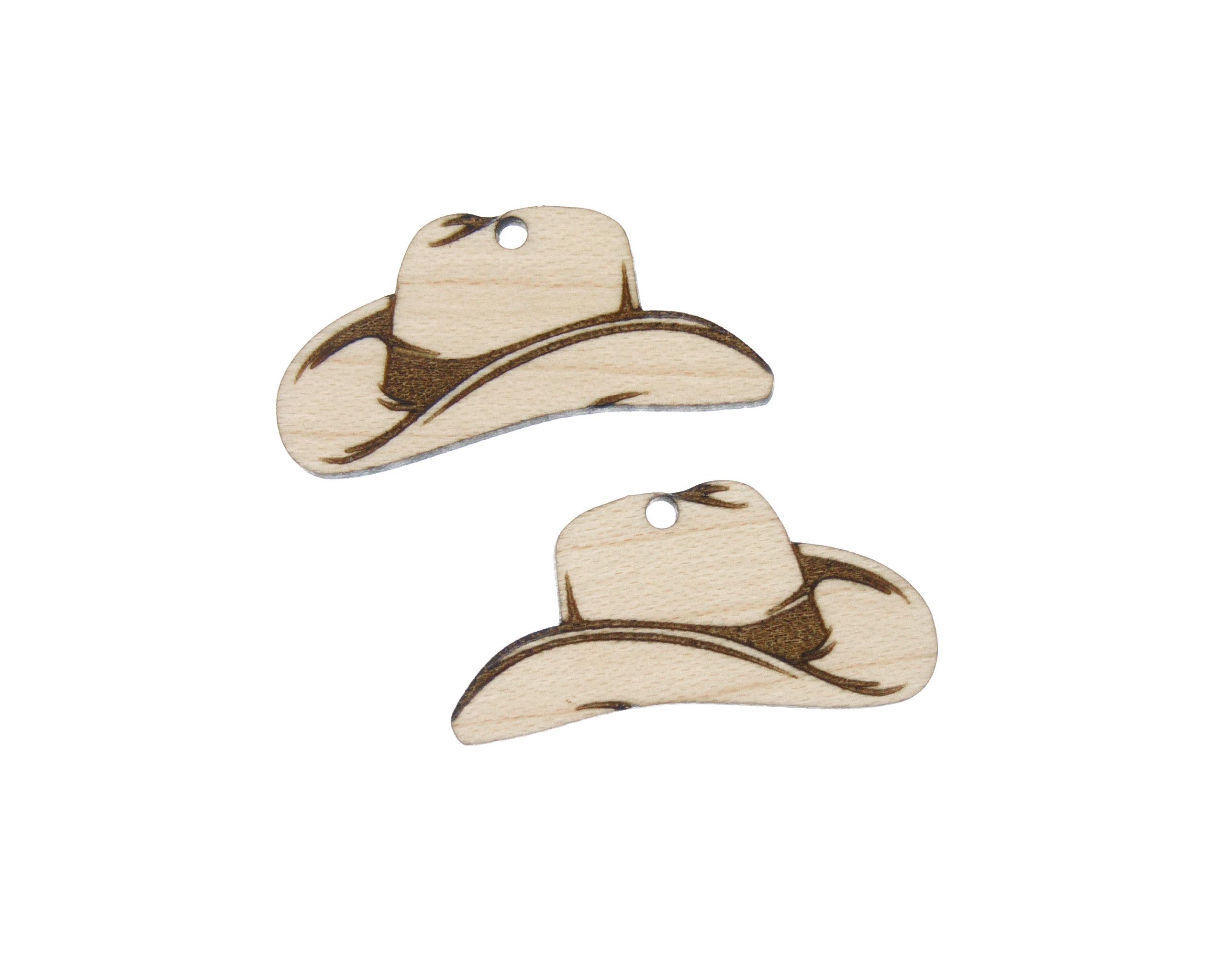 Cowboy Hats Engraved Wood Drop Charms