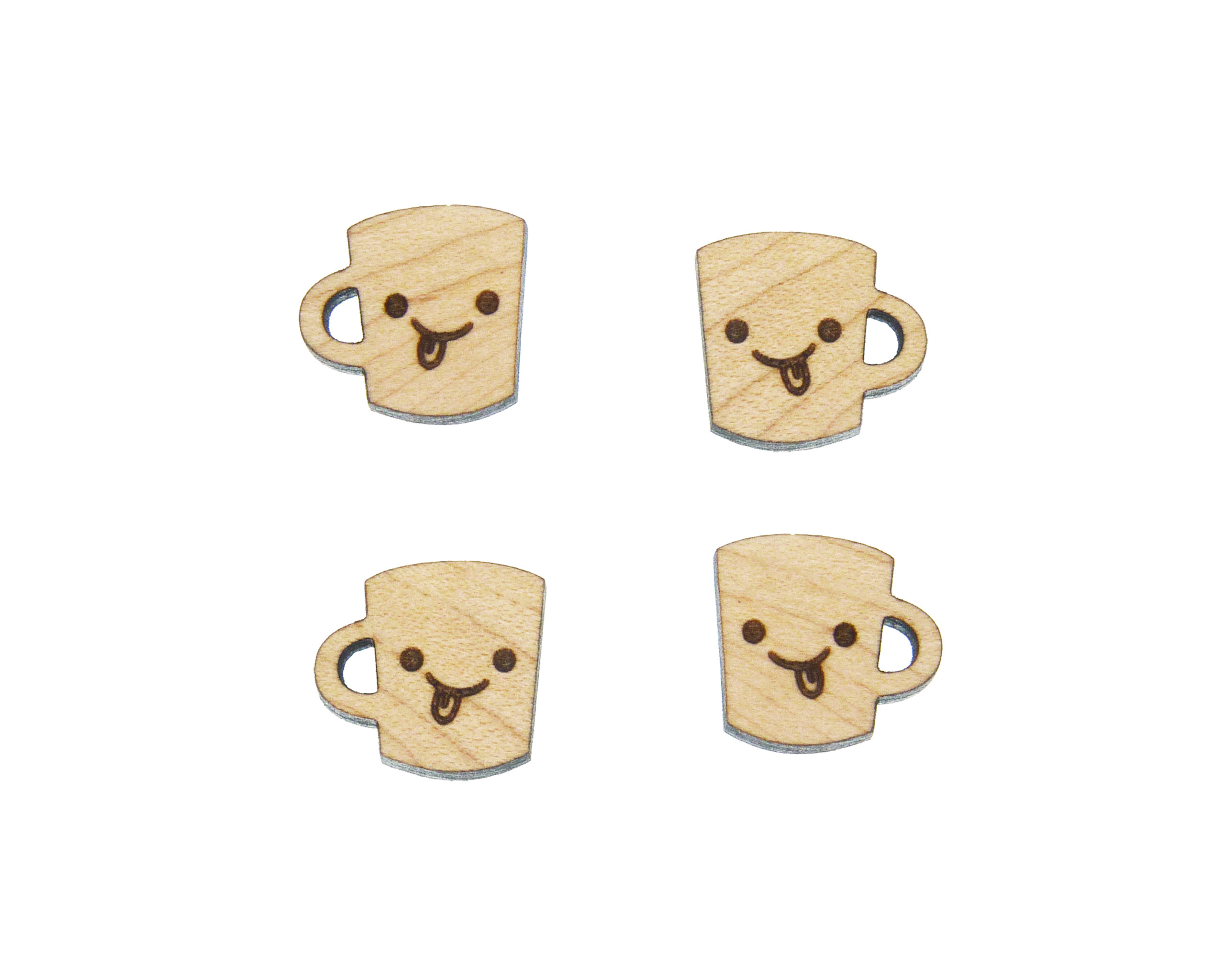 Cute Coffee Cup Engraved Wood Cabochons