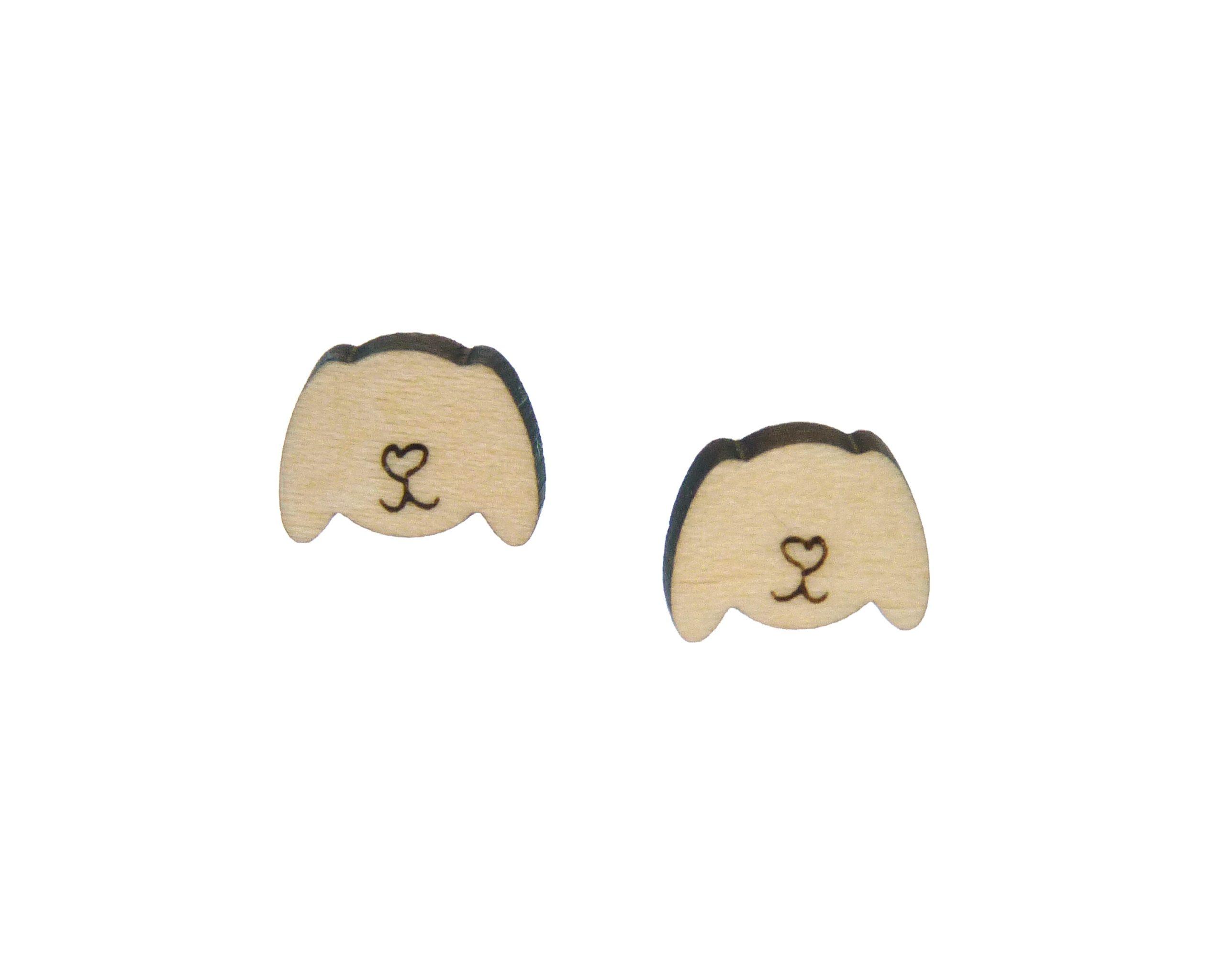 Dogs Wood Stud Earrings