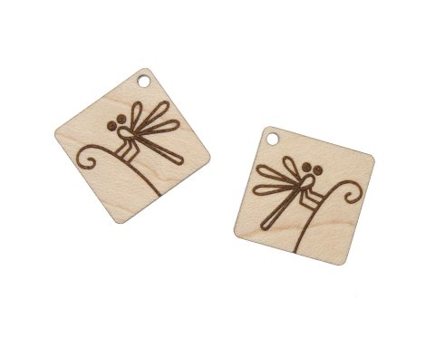 Dragonfly Engraved Wood Drop Charms