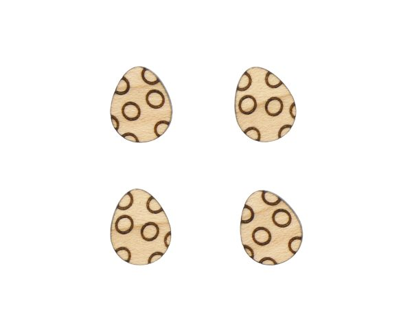 Easter Eggs with Circles Engraved Wood Cabochons
