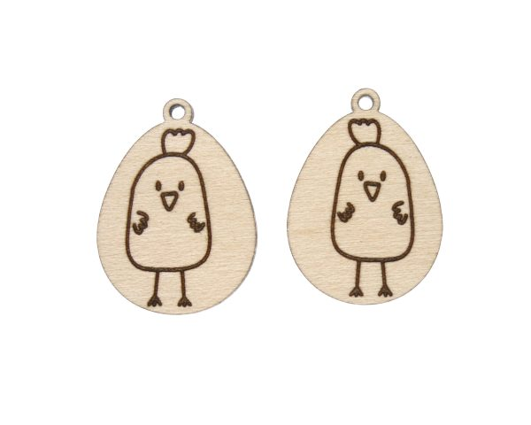 Eggs with Chick Engraved Wood Drop Charms