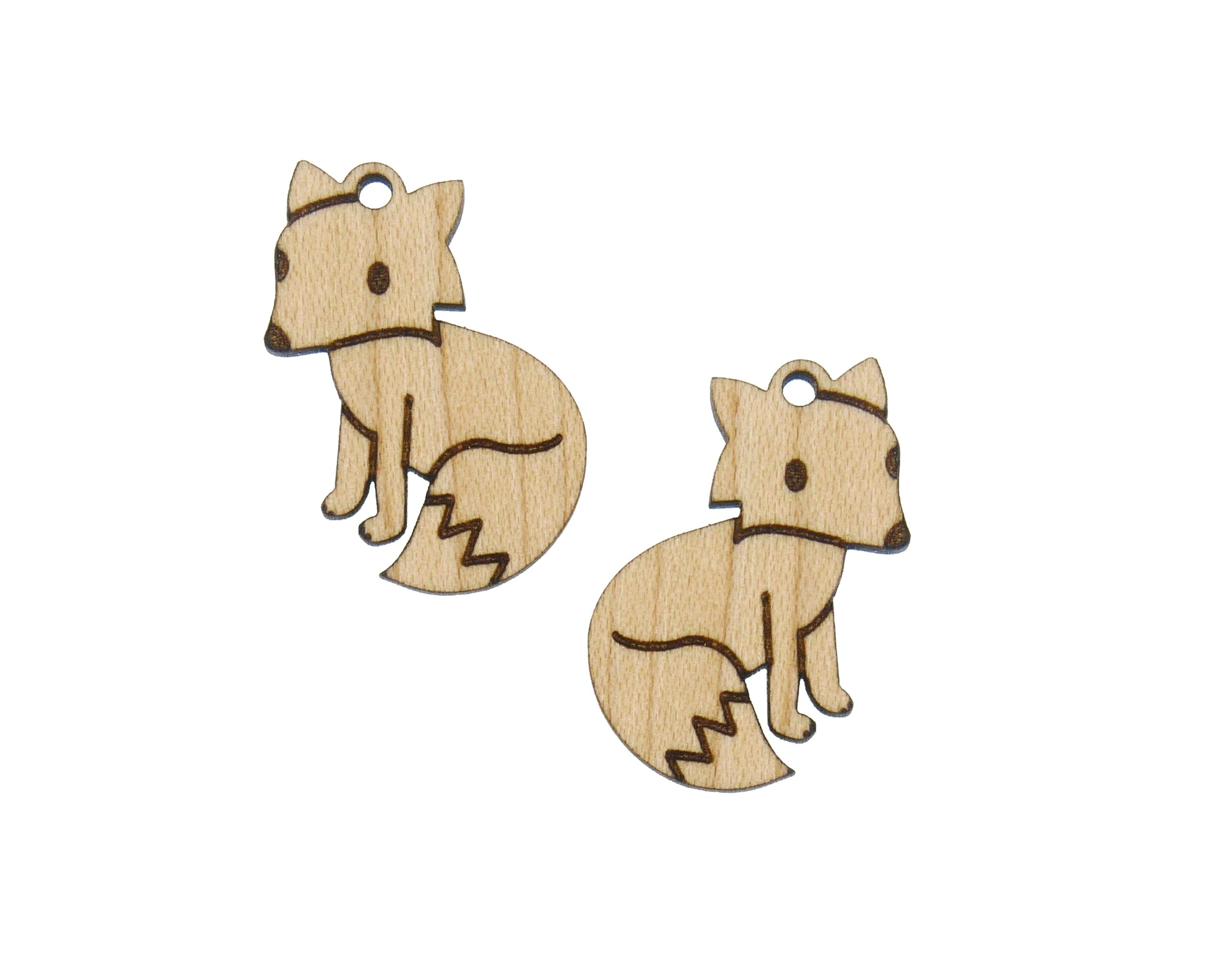 Foxes Engraved Wood Drop Charms