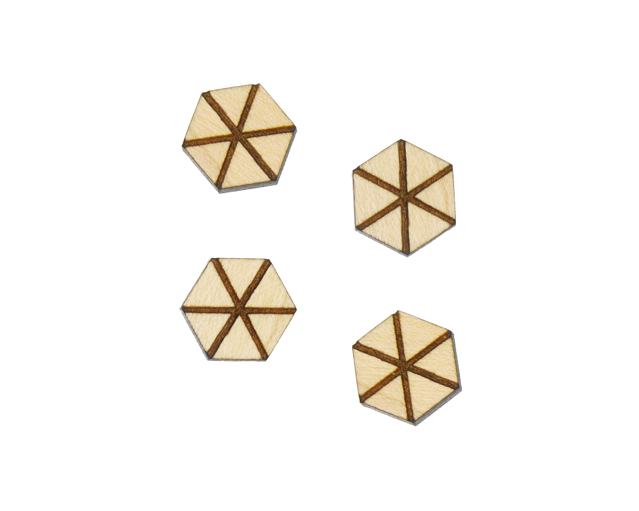 Geometric Hexagon A02 Engraved Wood Cabochons