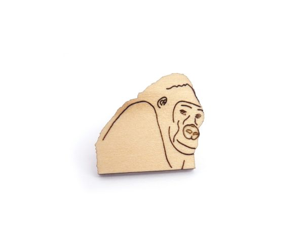 Gorilla Basswood Hardwood Pin   Hand Drawn