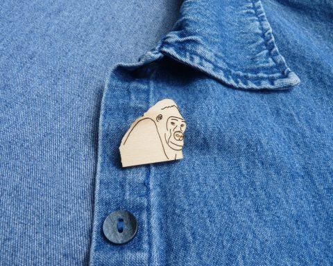 Gorilla Basswood Hardwood Pin | Hand Drawn