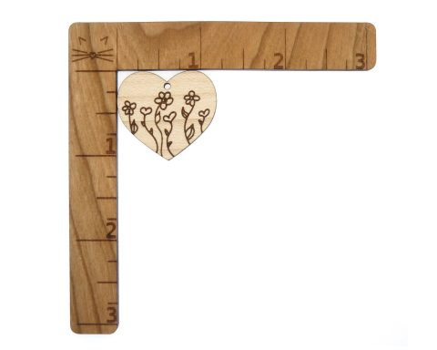 Flowers and Heart Garden Engraved Wood Drop Charms