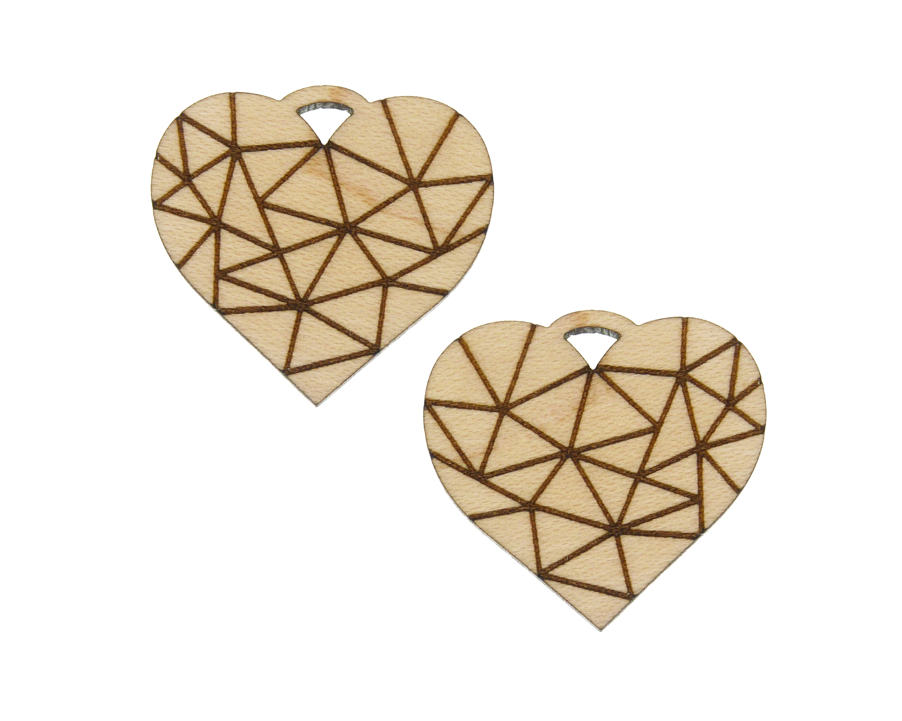 Hearts Geometric Engraved Wood Drop Charms
