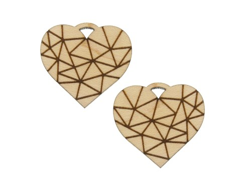 Geometric Hearts Engraved Wood Drop Charms
