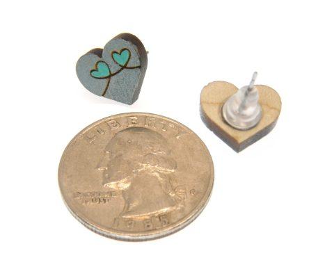 Heart Loops Maple Hardwood Stud Earrings | Hand Painted