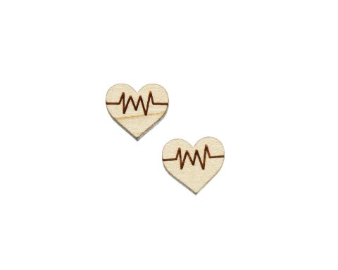 Heart Pulse Engraved Wood Cabochons