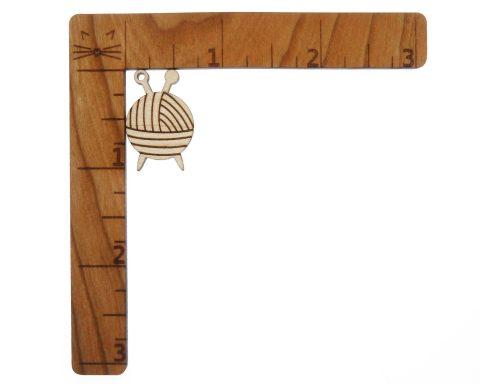 Yarn Ball Engraved Wood Drop Charms