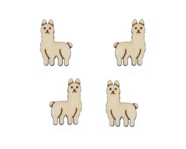 Llama Engraved Wood Cabochons