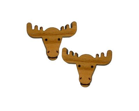 Moose Cherry Hardwood Stud Earrings