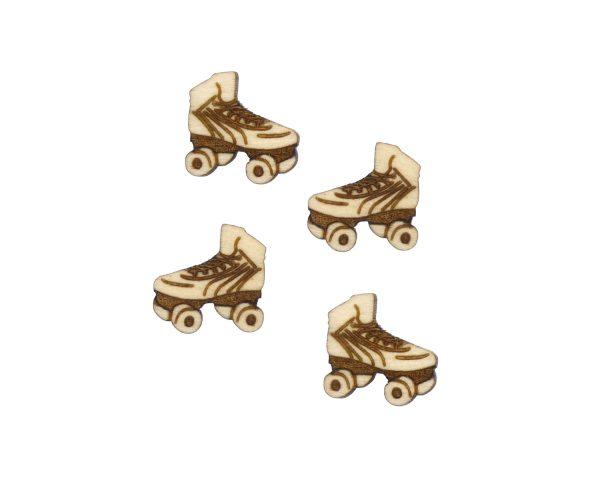 Retro Skates Engraved Wood Cabochons