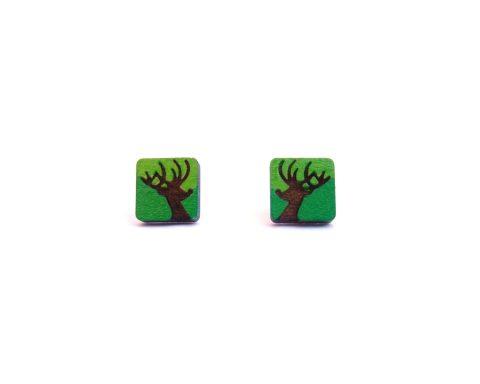 Rudolph Silhouette Wood Stud Earrings | Hand Painted