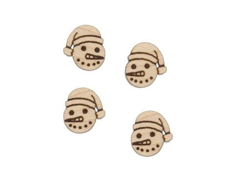 Snowman Face Engraved Wood Cabochons