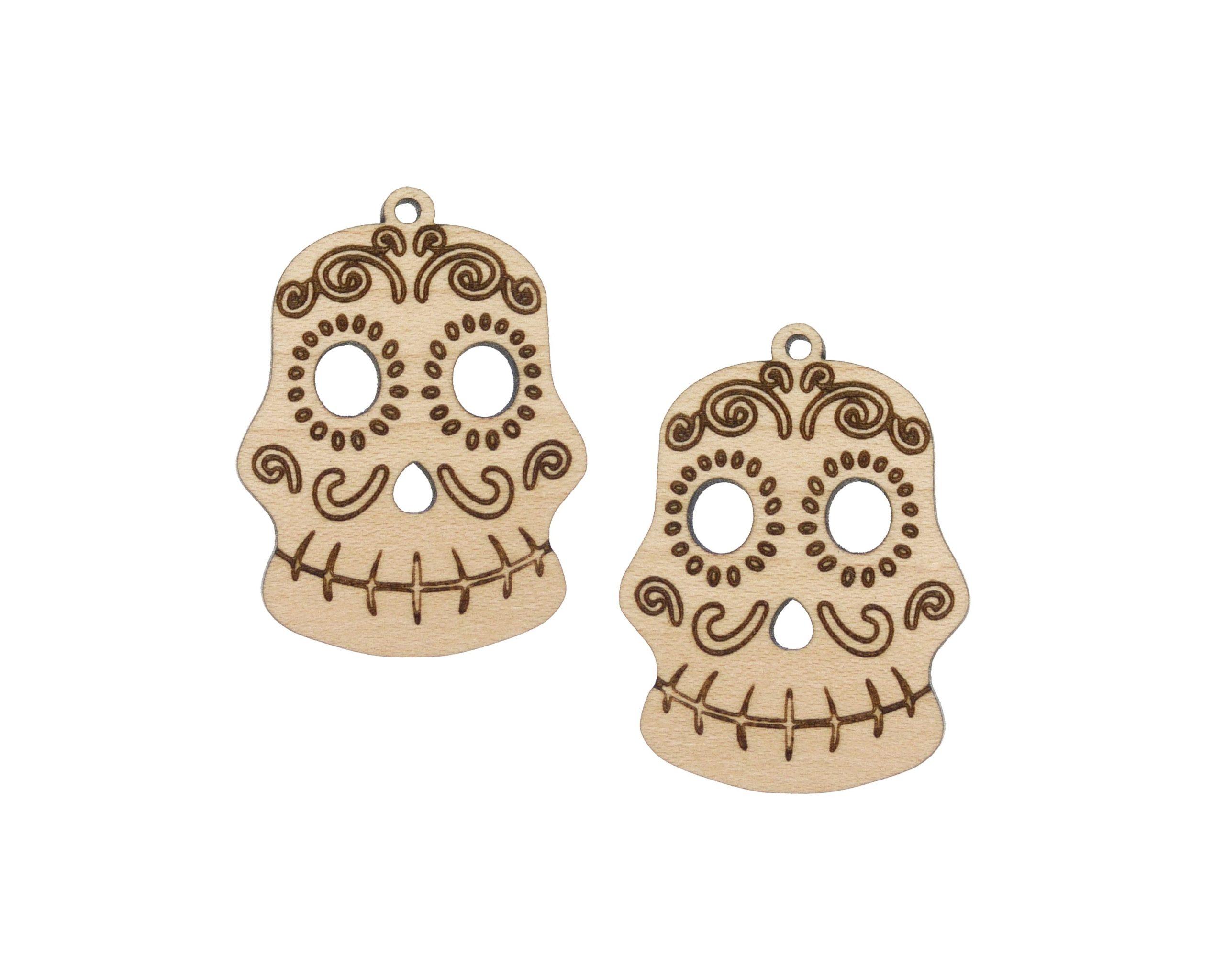 Sugar Skull 02 Engraved Wood Drop Charms